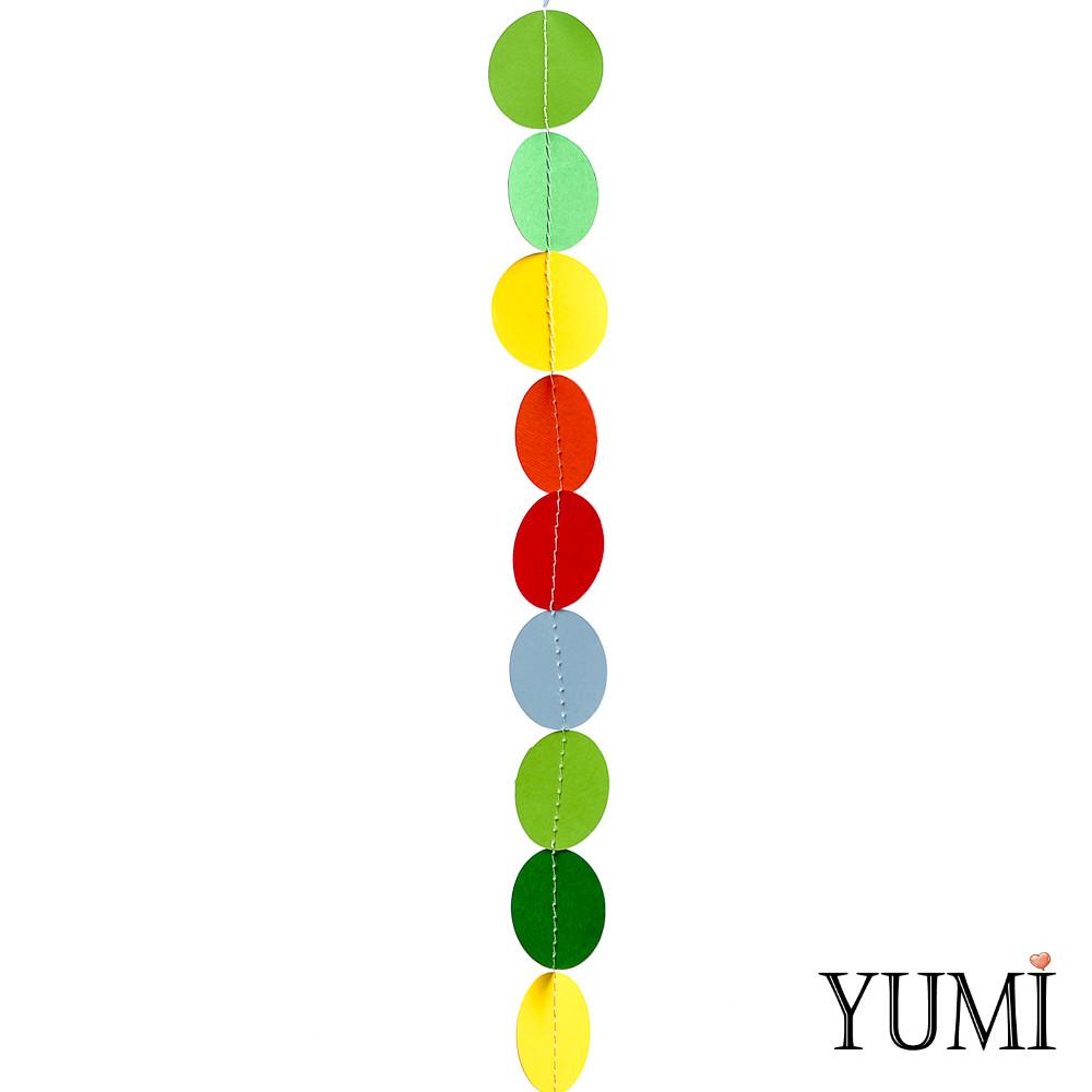 Гирлянда картон Круги разноцветные плоская 1,2 м