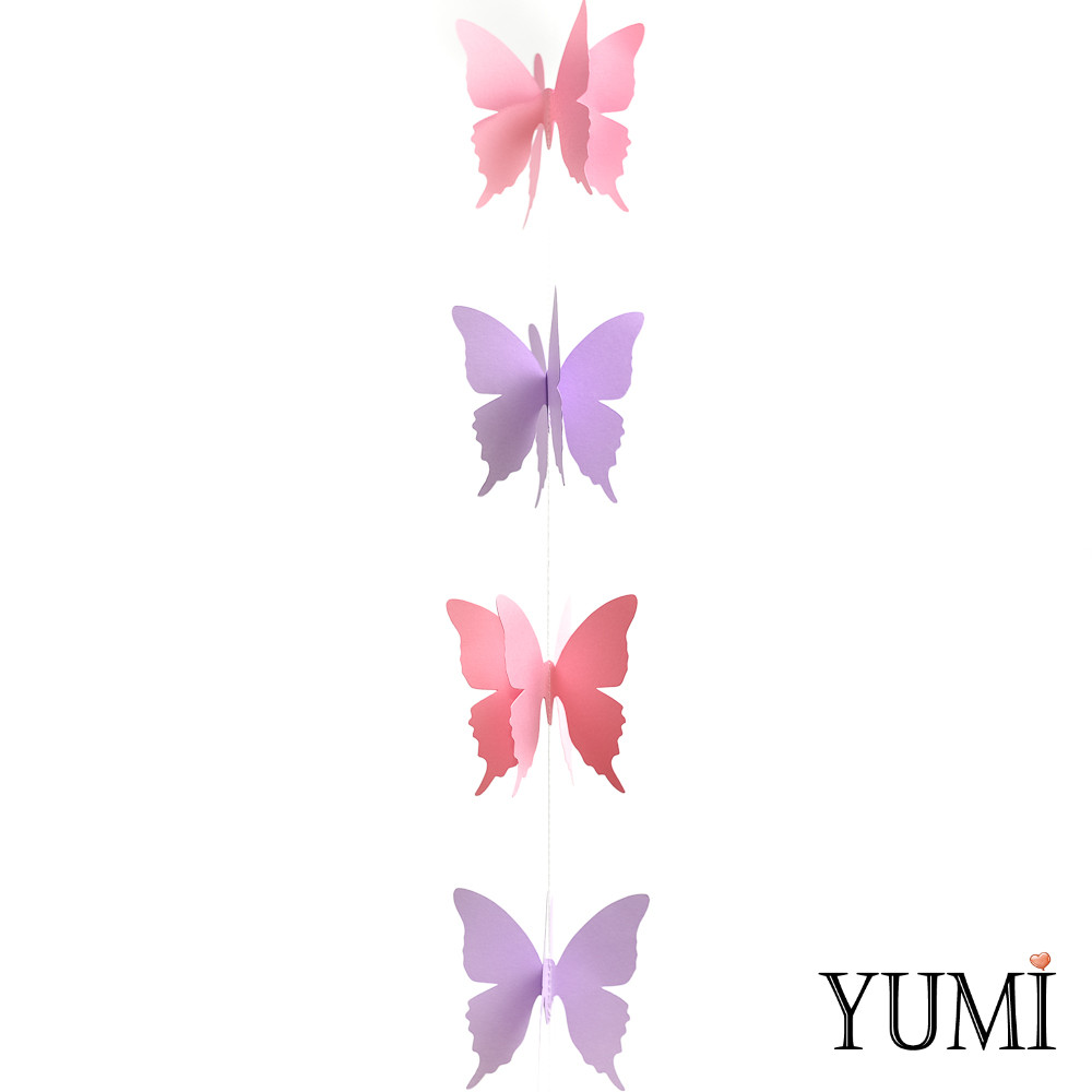 Декор: Гірлянда картон об'ємна Рожеві та бузкові метелики 1,5 м