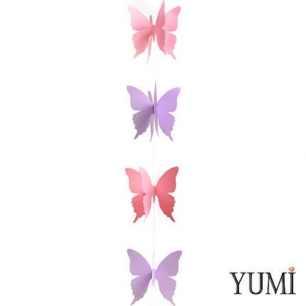 Декор: Гірлянда картон об'ємна Рожеві та бузкові метелики 1,5 м, фото 2