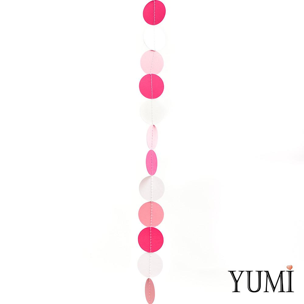 Декор: Гирлянда картон плоская Малиновые, розовые и белые круги 1,2 м