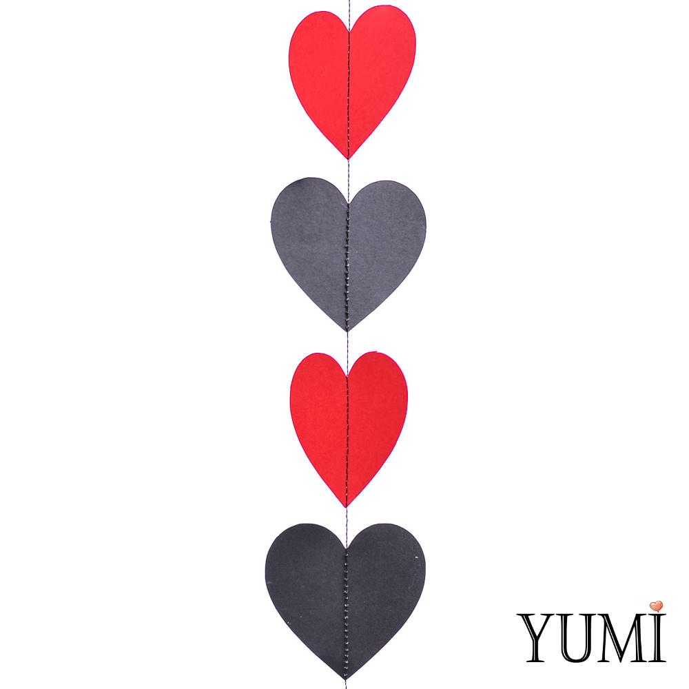 Декор: Гирлянда картон плоская Черные и красные сердца 1,5 м