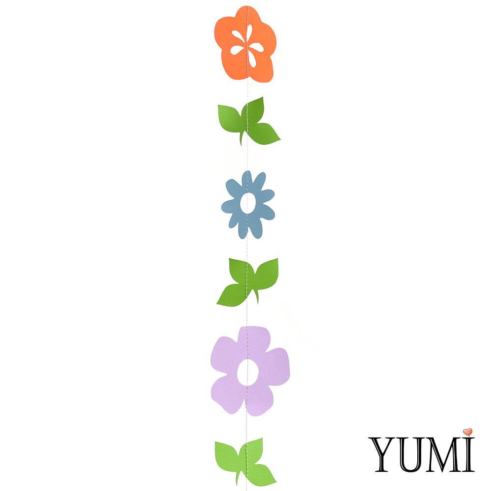 Декор: Гірлянда картон плоска Жовті, бузкові, блакитні квіти і зелень 1,5 м