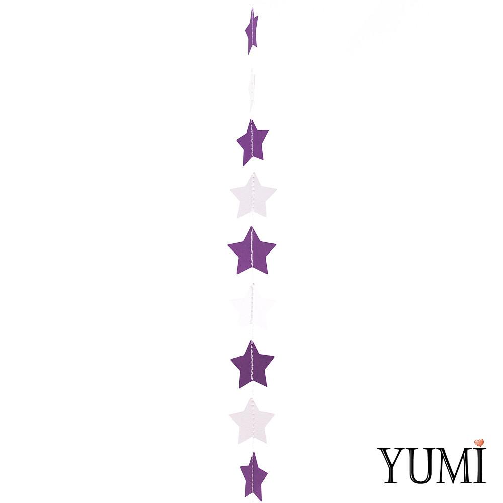 Декор: Гирлянда картон плоская Фиолетовые и белые звезды 1,2 м