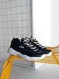 Мужские кроссовки Fila Ray Black White. Живое фото (Люкс реплика ААА+), фото 3