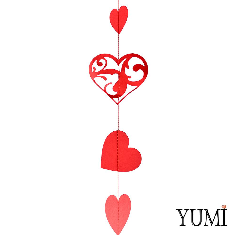 Декор: Гірлянда картон плоска Червоні ажурні серця 1,5 м