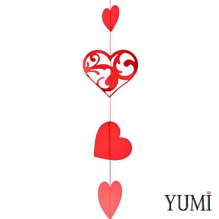 Декор: Гірлянда картон плоска Червоні ажурні серця 1,5 м, фото 2