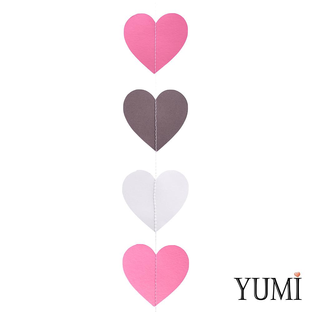 Декор: Гирлянда картон плоская Розовые, серые и черные сердца 1,5 м