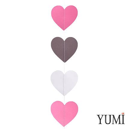 Декор: Гирлянда картон плоская Розовые, серые и черные сердца 1,5 м, фото 2