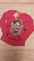 Реглан кофта на девочку с пайетками Котик и сердце 122р паетки