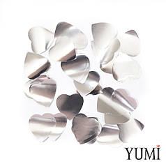 Конфетти сердечки серебро, 35 мм