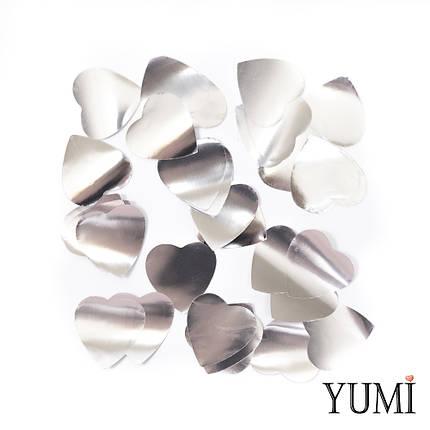 Конфетти сердечки серебро, 35 мм, фото 2