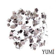 Конфетти квадратики серебро, 8 мм