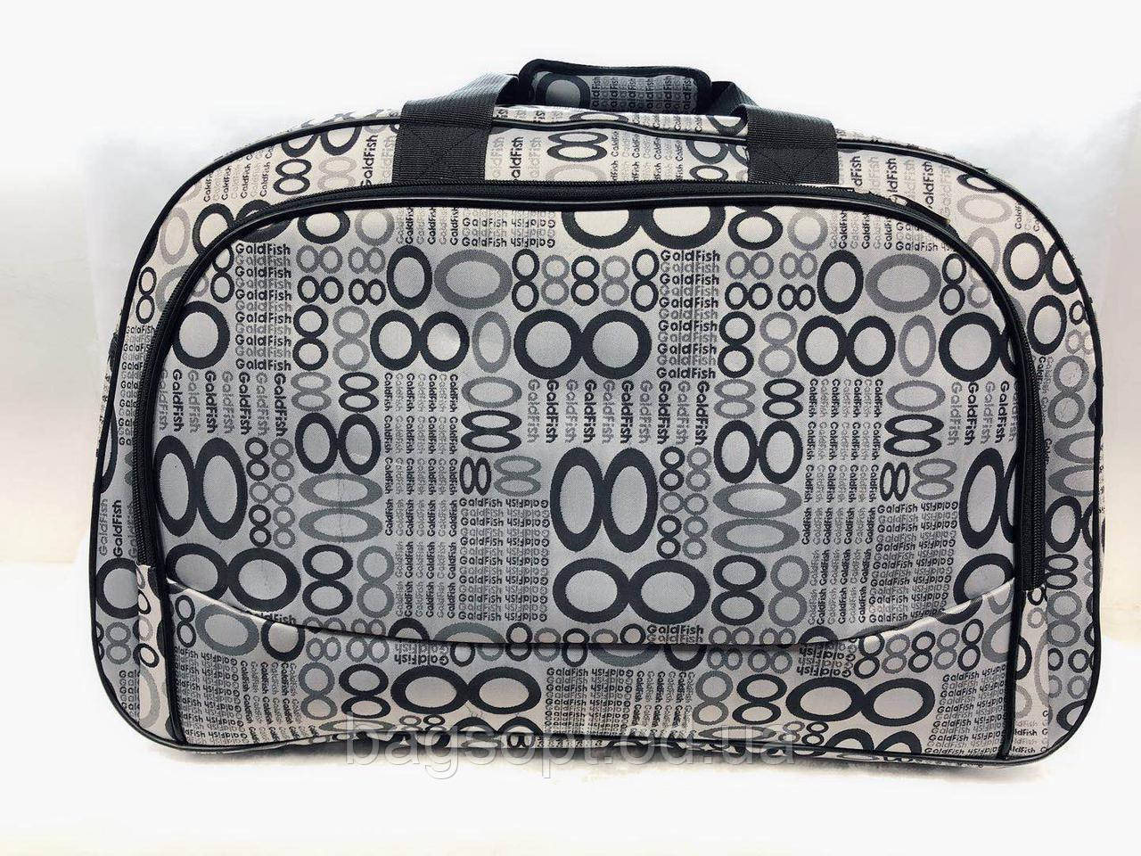 Женская серая дорожная текстильная сумка-саквояж