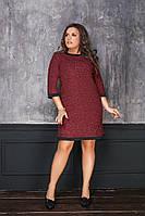 Женское платье трикотаж -букле с отделкой мод.7047-1    48++++, фото 1