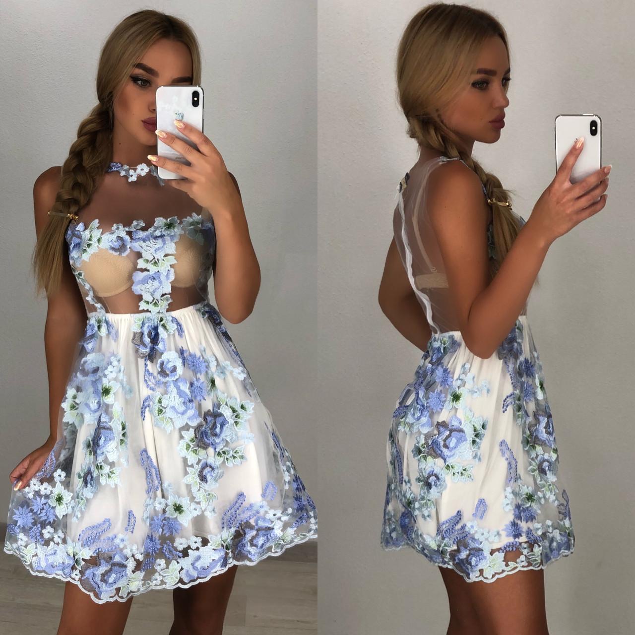 74416e5d9c13 Женское нежное платье, 3D цветы цветами