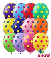 """0030 Куля 12""""/30см горох різнокольоровий Горошок асорті в кольоровий горох (Артшоу)"""