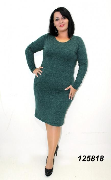 Платье ангора-меланж зеленое 50,52,54,56