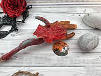 Подвесная Кровавая оторванная рука на крючке, муляж, части тела 30см, декор на Хэллоуин