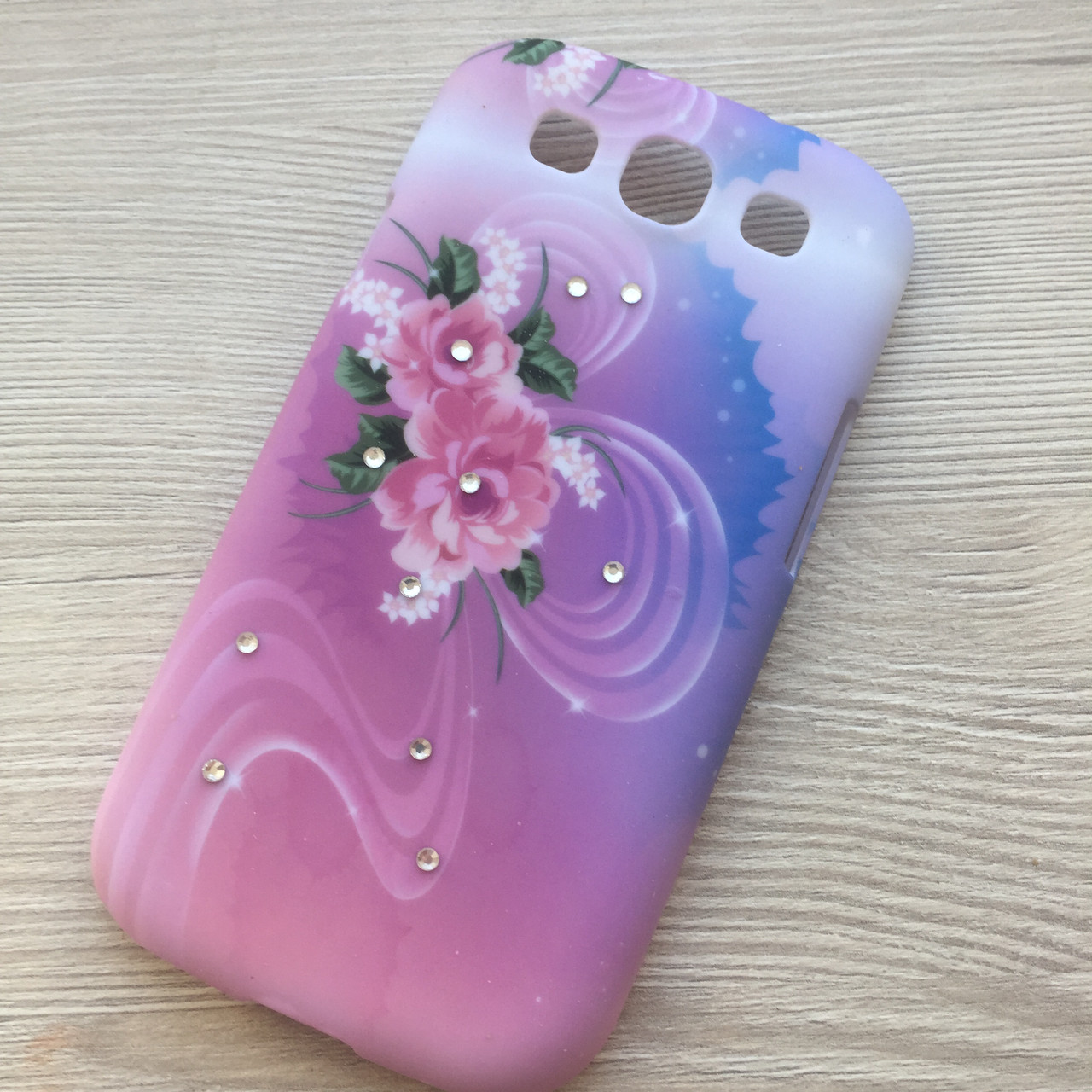 Пластиковый чехол с цветами и камушками №2 Samsung S3 i9300