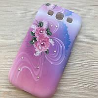 Пластиковый чехол с цветами и камушками №2 Samsung S3 i9300, фото 1