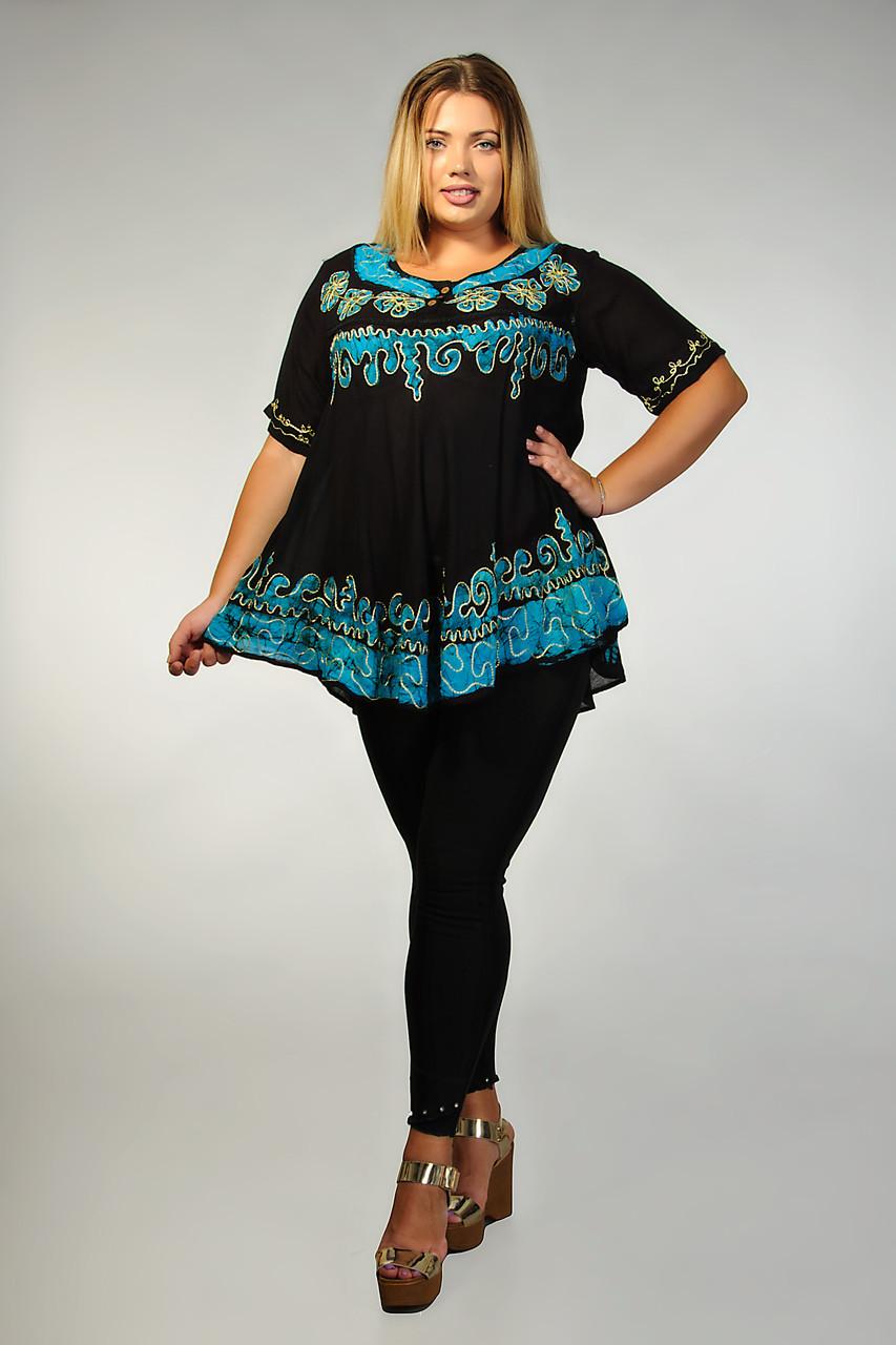 Блуза женская черная с бирюзовым батиком, 54 - 58 размеры, фото 1