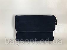Женcкая сумочка клатч замшевая маленькая повседневная Pretty Woman цвет темно-синий Одесса