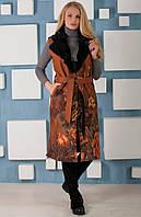 Шикарный женский жилет из эко-замши с натуральным мехом кролика В-999-2 размеры 42-48, фото 1