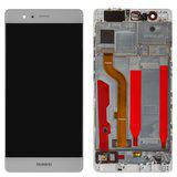 Дисплей (экран) для Huawei P9 EVA-L29 с сенсором (тачскрином) и рамкой белый Оригинал, фото 2