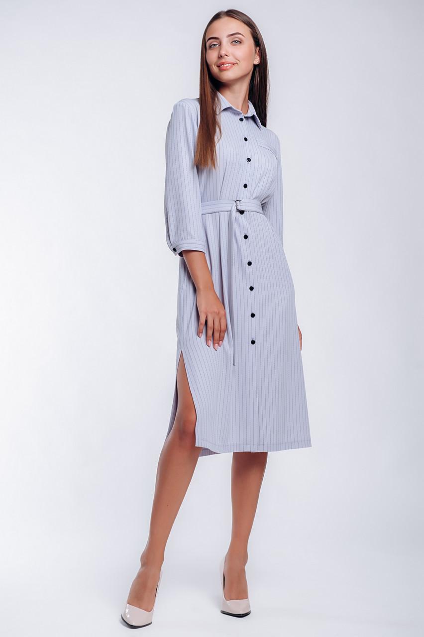 Офисное женское платье-рубашка  длиной до колена