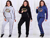Женский спортивный теплый костюм GUCCI змейки Большого размера ЮР8355, синий,  48-50 f213dbdad89