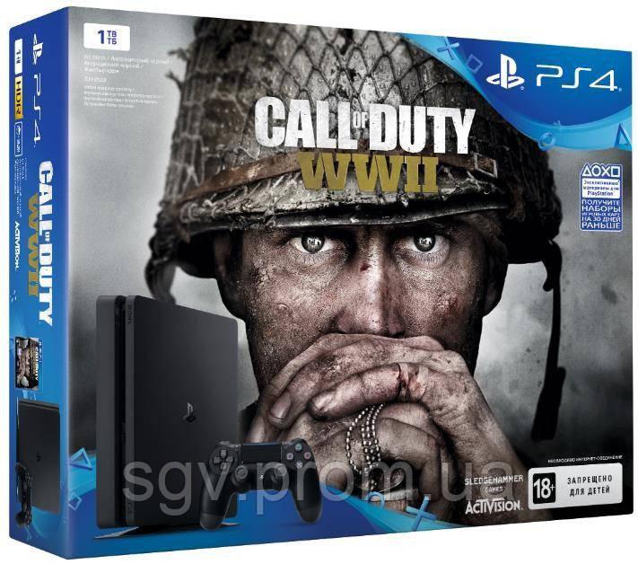 PlayStation 4 Slim 1TB (CUH-2108B) Bundle + игра Call of Duty WW2  v5.05