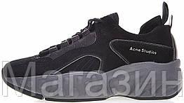 """Женские кроссовки Acne Studios Manhattan Sneakers """"Black"""" в стиле акне черные"""