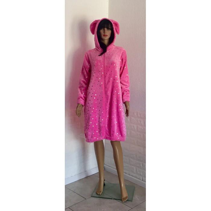 Молодежный махровый халат с ушками и принтом Звезды розовый 42-50р