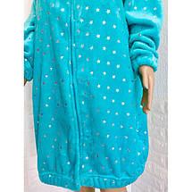 Молодежный махровый халат с ушками и принтом Звезды розовый 42-50р, фото 3