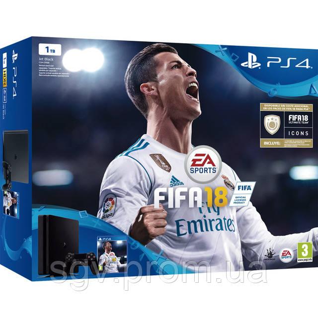 PlayStation 4 Slim 1TB (CUH-2108B) Bundle + игра FIFA 2018 (PS4)