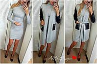 Костюм женский большие размеры кардиган+платье 1506 СЕР-2