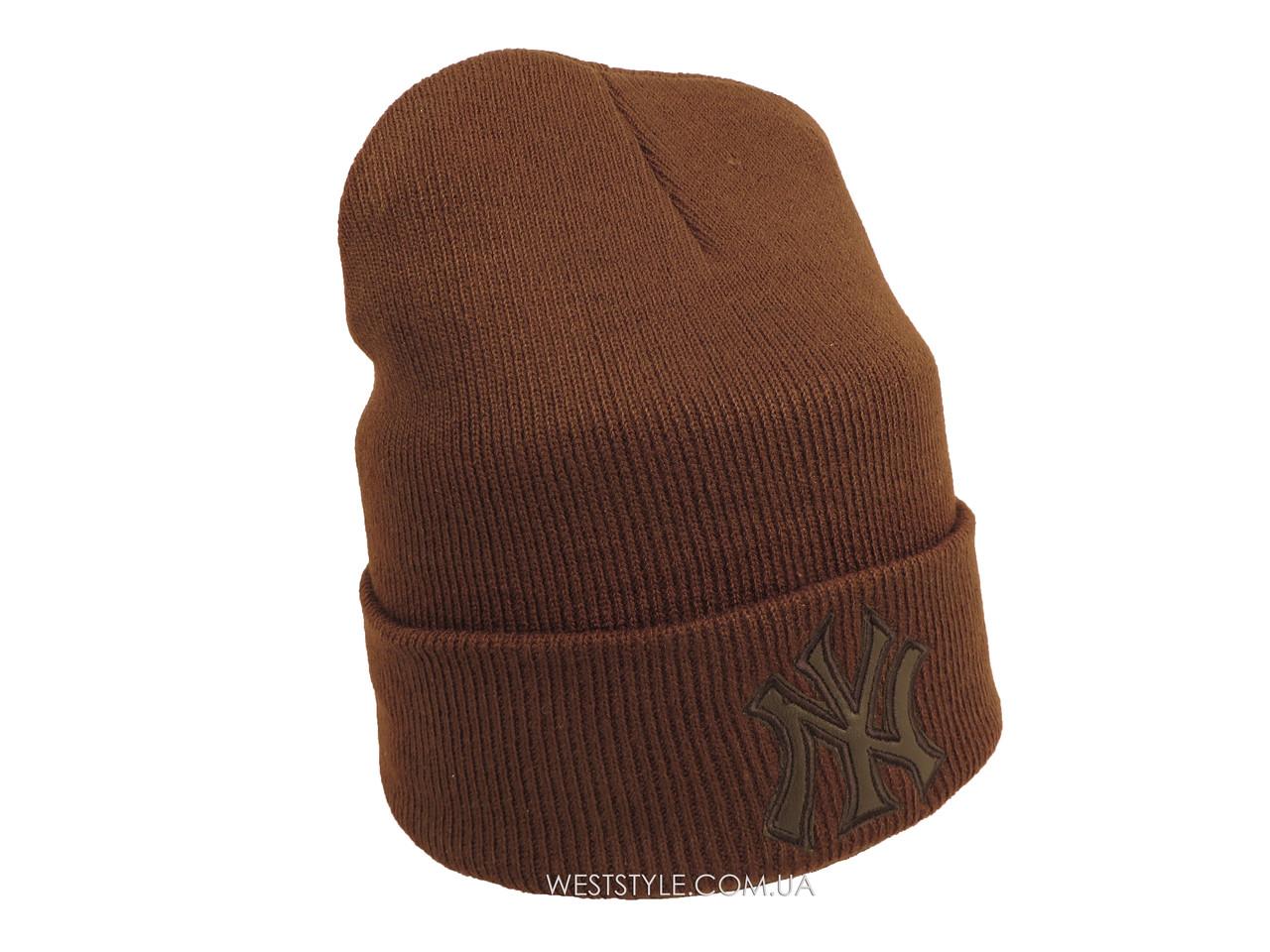 Коричневая шапка New York (реплика)