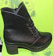 Ботинки зимние женские молодежные кожаные на каблуке от производителя модель В2009К, фото 1