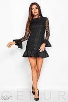 Офисное платье на осень с воланами длинные рукава гипюровое черное