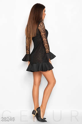 Офисное платье на осень с воланами длинные рукава гипюровое черное, фото 2