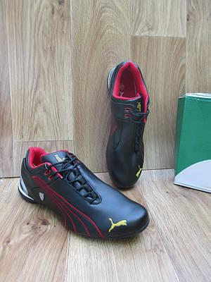 Мужские Кроссовки в стиле Puma Ferrari черные с красным кожаные