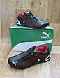 Мужские Кроссовки в стиле Puma Ferrari черные с красным кожаные, фото 3