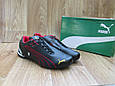Мужские Кроссовки в стиле Puma Ferrari черные с красным кожаные, фото 4