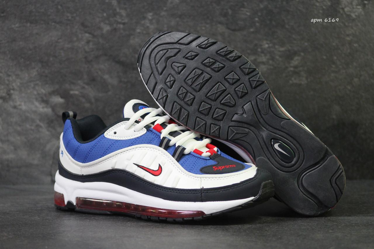 144717cd Кроссовки в стиле Nike Air Max 98 x Supreme (белые с синим) код товара