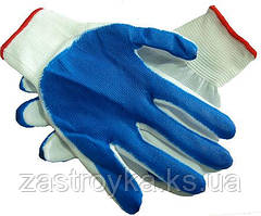 Перчатки облитые нитрилом ВАМПИРКА синяя