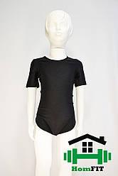 Купальник для гимнастики и танцев с коротким рукавом (цвет в ассортименте) 3XS, Черный