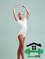 Купальник для гимнастики и танцев с коротким рукавом (цвет в ассортименте) 3XS, Белый