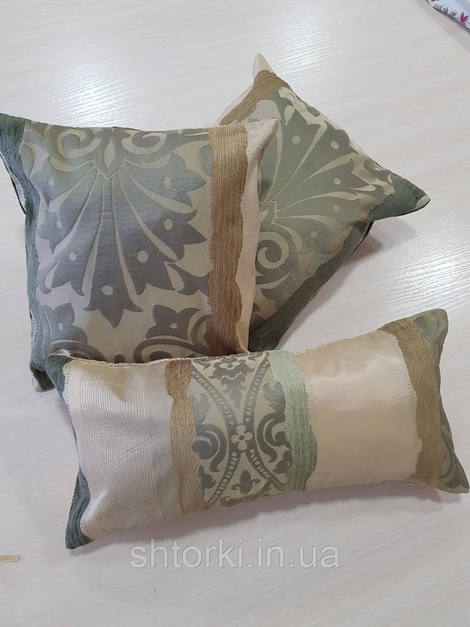 Комплект подушек Оливка с зеленью полоски икоронки, 3шт