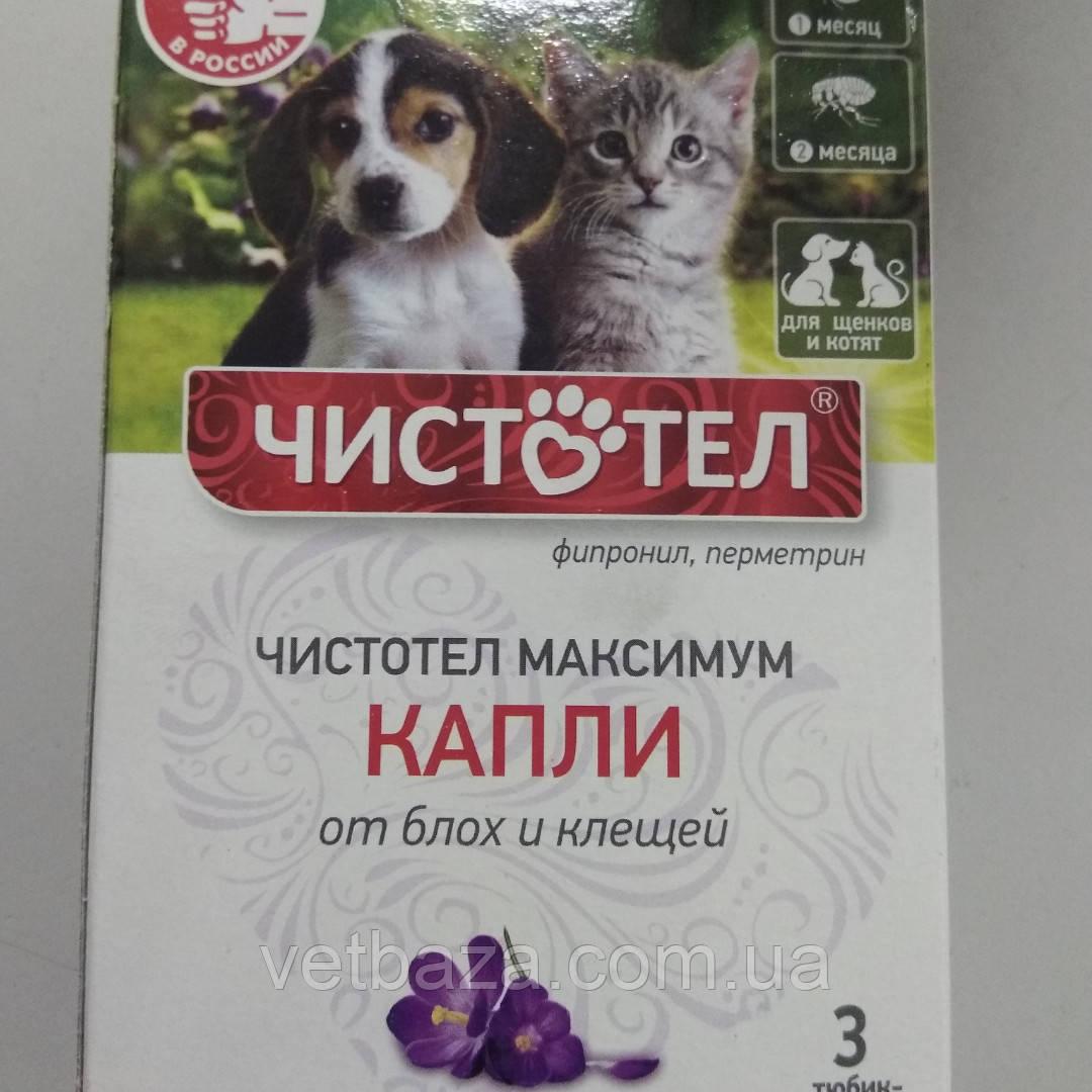 Капли Чистотел для щенят и котят от блох и клещей Юниор 3шт Экопром