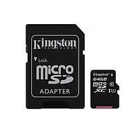Карта памяти Kingston microSDXC 64GB Canvas Select Class 10 UHS-I U1 + SD-адаптер (SDCS/64GB)